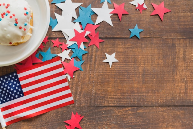 Composition of american flag stars and cake Free Photo