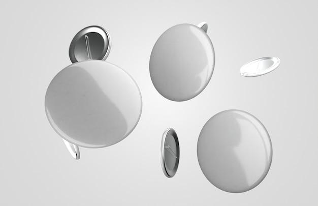 Composizione dei distintivi 3d bianchi in bianco Foto Gratuite