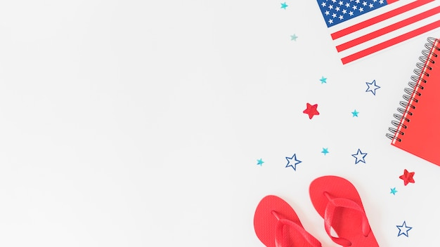 Composition in colors of american flag Free Photo