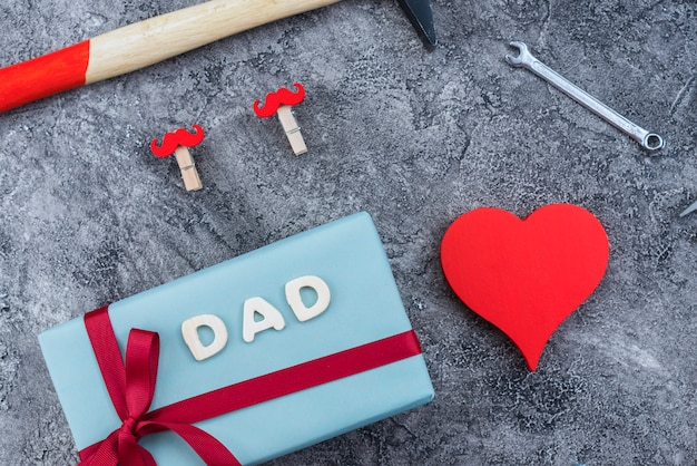Composition of father`s day items Free Photo