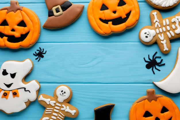 Composition of halloween cookies Free Photo