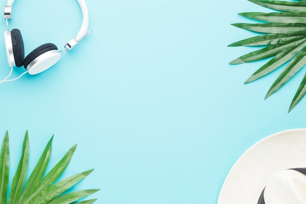 Composition of headphones plant leaves and hat Free Photo