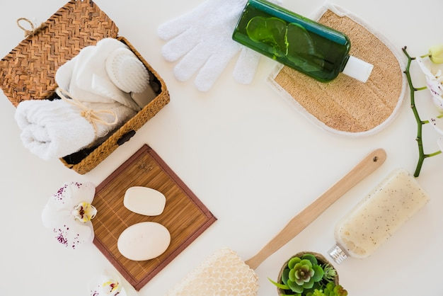 Composition of hygienic items on white background Free Photo