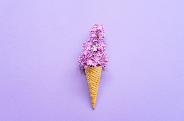 Composition of ice cream cone with purple lilac flowers. flat lay. top view. creative summer concept Premium Photo