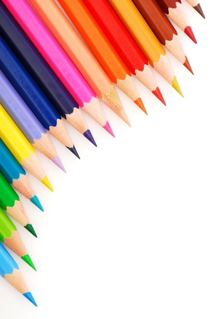 Composition of multicolored pencils Free Photo