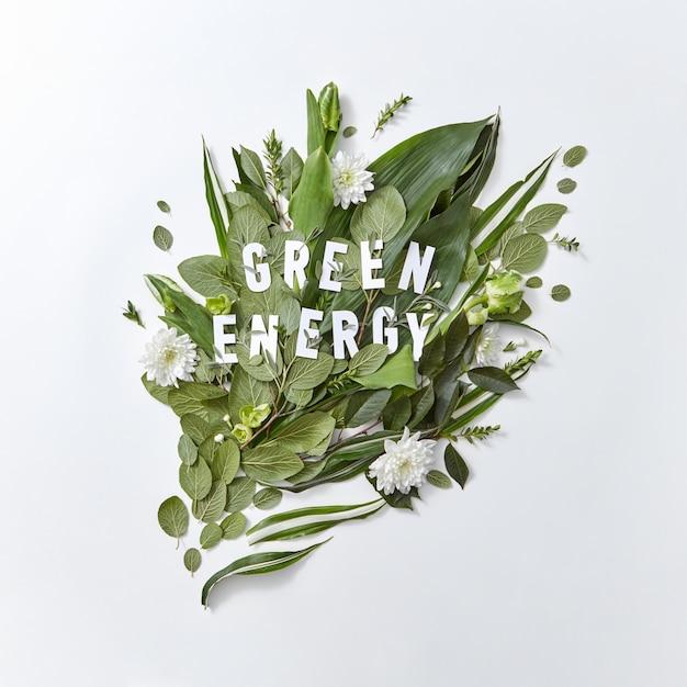 Композиция из зеленых листьев, белых цветов и тюльпана с надписью зеленой энергии на сером фоне с копией пространства. концепция сохранения окружающей среды. плоская планировка Premium Фотографии