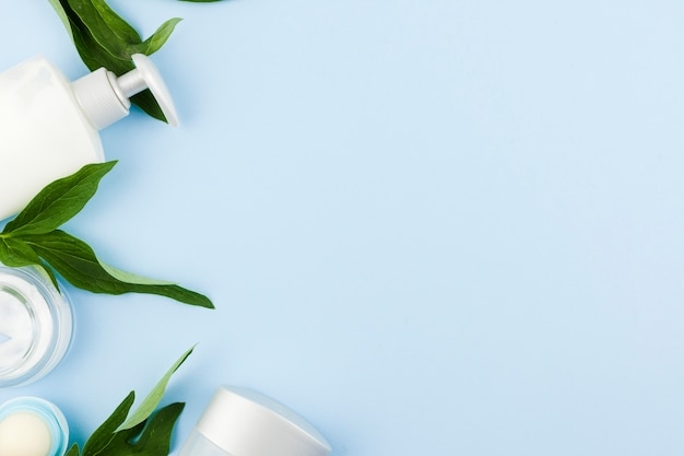 Composition of white skin products and leaves Free Photo