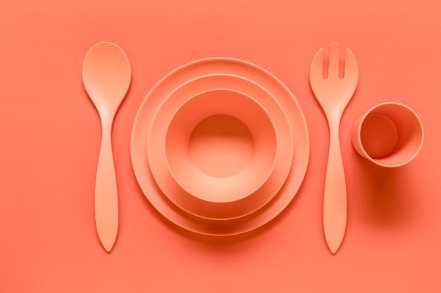 Composition of pink plastic served dish Free Photo
