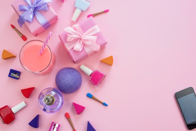 The composition of a set of women's accessories, cosmetic items gift cocktail. Premium Photo