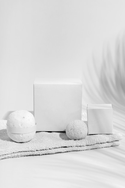 Composition of spa elements on white background Free Photo