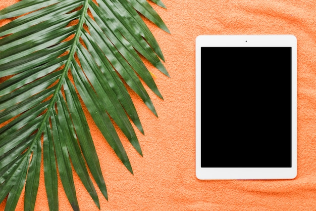 Composition of tablet and big green leaf Free Photo