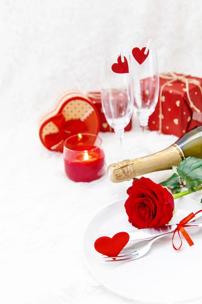 Composition of valentine's day gifts and ornaments Premium Photo