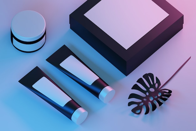 Composition with black cosmetic tubes, jar and box Premium Photo