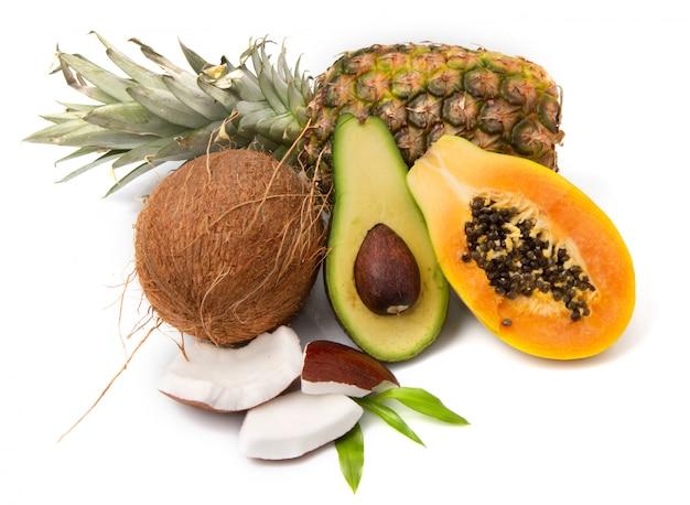 Composition with exotic fruit Premium Photo
