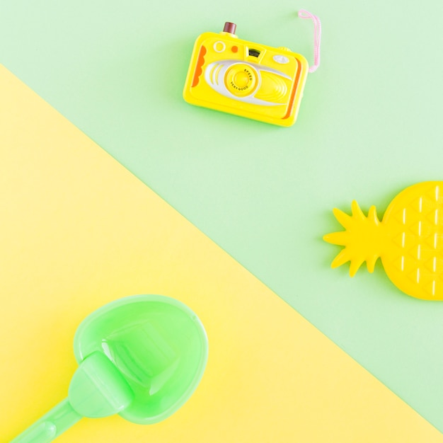 Composition with summer objects on multicolored background Free Photo