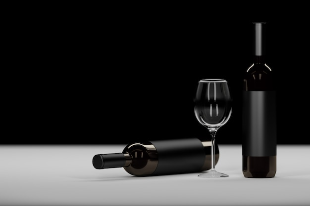 Composition with two dark glass wine bottle and wine glass on black Premium Photo