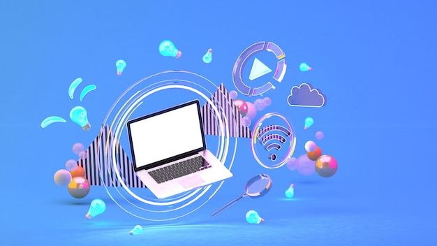 Computer in a circle of light among the social media icons and colorful balls on the blue. 3d rendering. Premium Photo