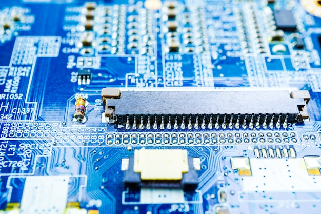 Computer circuit cpu main board electronics device : concept of hardware and technology. Premium Photo