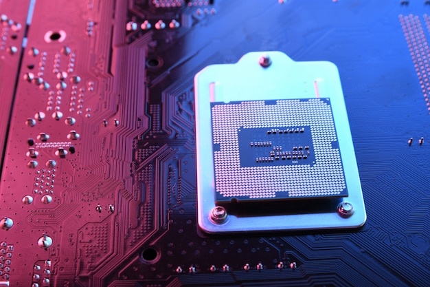 Computer cpu processor chip on circuit board Premium Photo