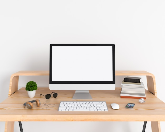 computer display for mockup on table in white room photo premium