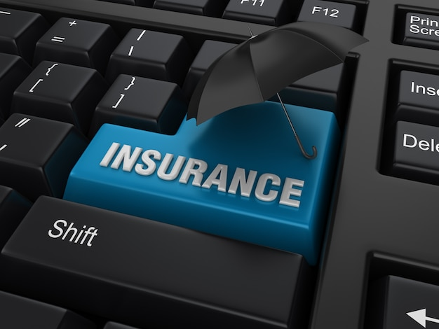 Computer keyword with umbrella and insurance word Premium Photo