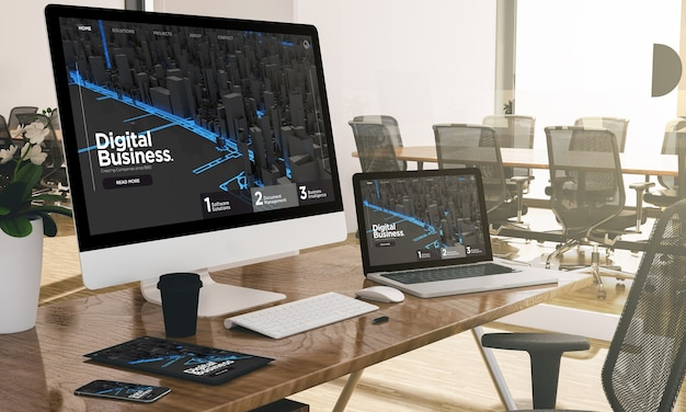 Computer, laptop, tablet, and phone with digital business at office mockup Premium Photo