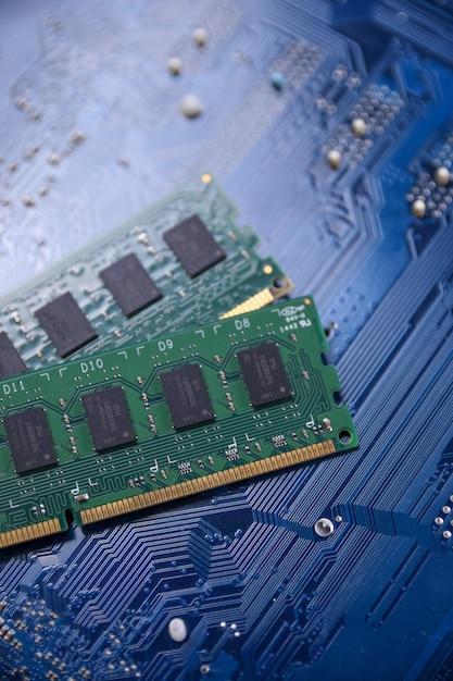 Computer memory ram on motherboard Premium Photo