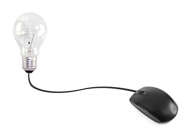 Computer mouse connected to a light bulb Free Photo