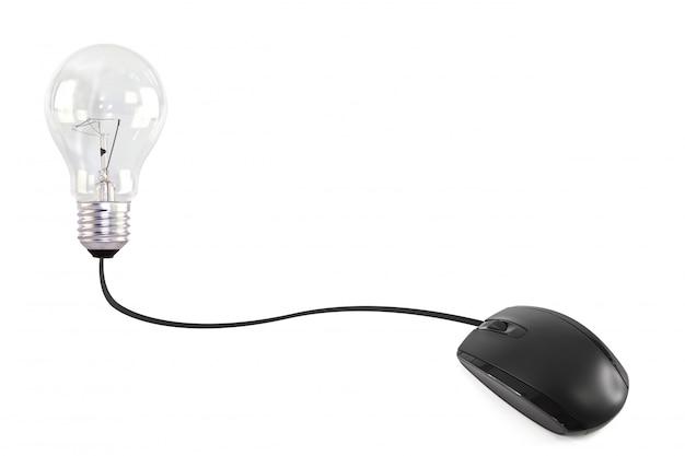 Компьютерная мышь подключена к электрической лампочки Бесплатные Фотографии