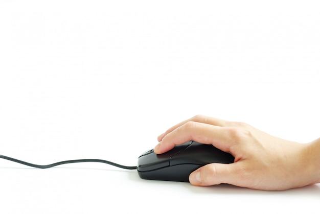 Компьютерная мышь в руке Premium Фотографии