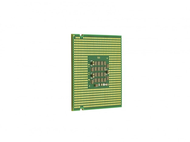 The computer the processor is isolated gold color with a microcircuit Premium Photo