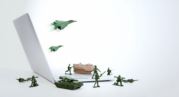 Computer security concept :  soldiers,tank,plane  are guarding a Free Photo