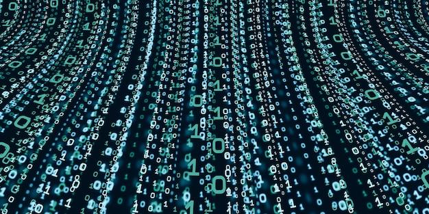 コンピュータシステム情報の概念抽象的なバイナリコード技術デジタルバイナリデータ画面の上部から落ちるバイナリデータの背景3dイラスト Premium写真