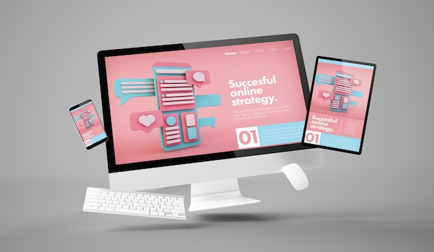 Computer, tablet and smartphone showing online marketing responsive website with white scren 3d rend