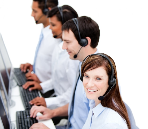 Concentrated businessteam with headset on Premium Photo
