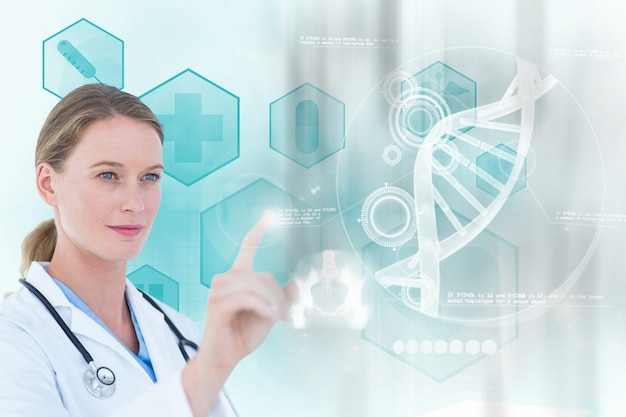 Concentrated doctor working with a virtual screen Free Photo