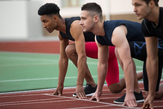 Concentrated multiethnic athlete group ready to run Free Photo