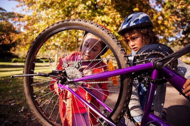 Концентрированные братья и сестры ремонтируют горный велосипед Premium Фотографии