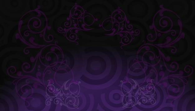 concentric circles and curly stems in violet