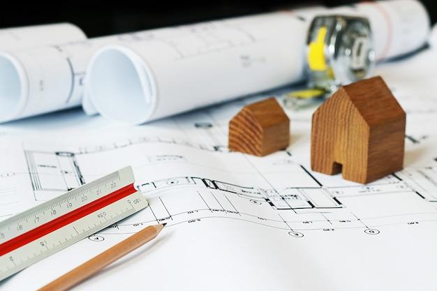 개념 건축가, 건축가 청사진 작업 프리미엄 사진