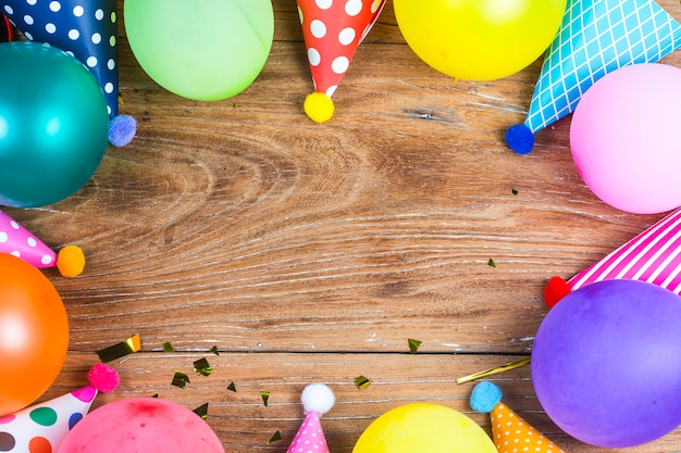concept birthday party on white background top view pattern Free Photo