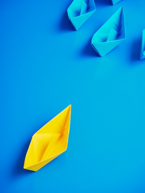 Concept business ship boat blue background Premium Photo
