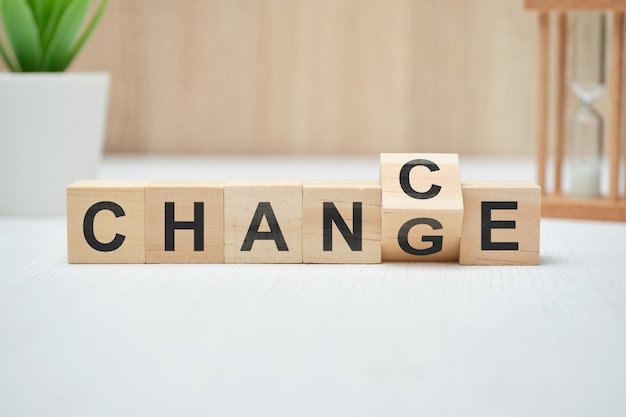 Premium Photo   Concept of chance and change on wooden cubes.