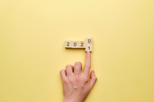 Concept of changes of the year from 2020 to 2021. Premium Photo