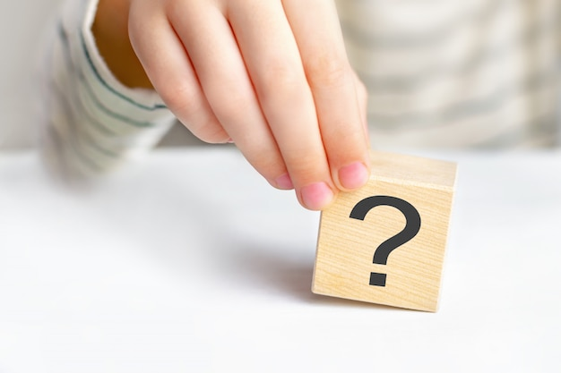 The concept of choice, decision making, solve a problem, find answer, learn the unknown Premium Photo