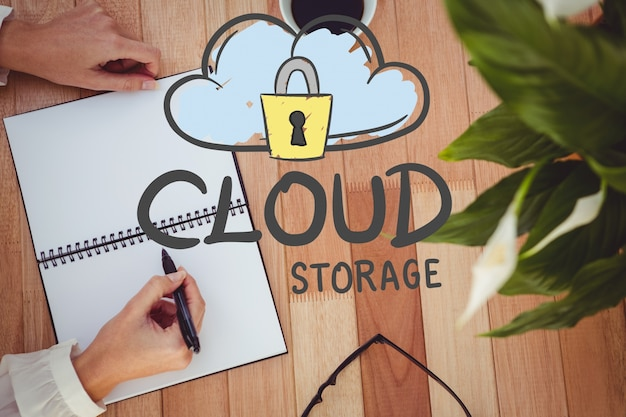 Concept of cloud storage with a drawing Free Photo