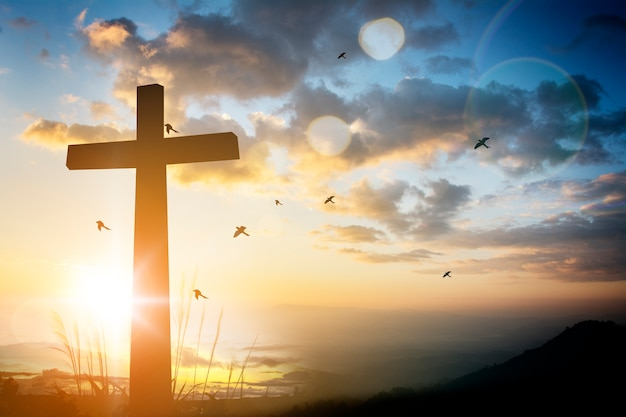 Concept conceptual black cross religion symbol silhouette Premium Photo