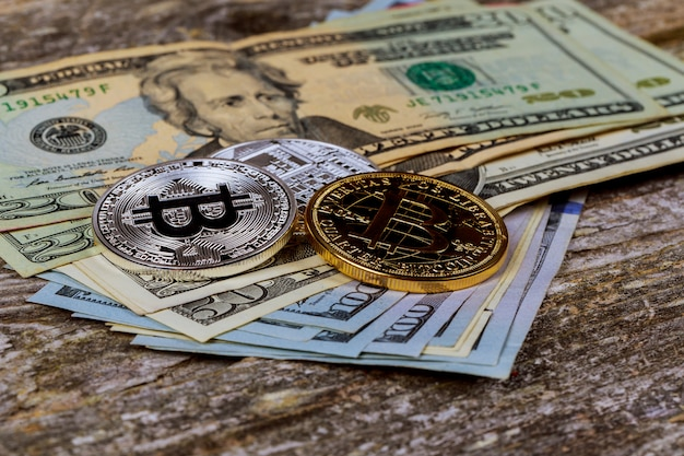 The concept of crypto currency bitcoin and dollar Premium Photo