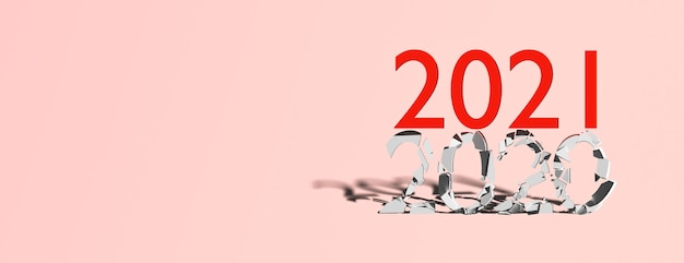 Concept end 2020 beginning 2021 on a blue background, banner, copy space Premium Photo