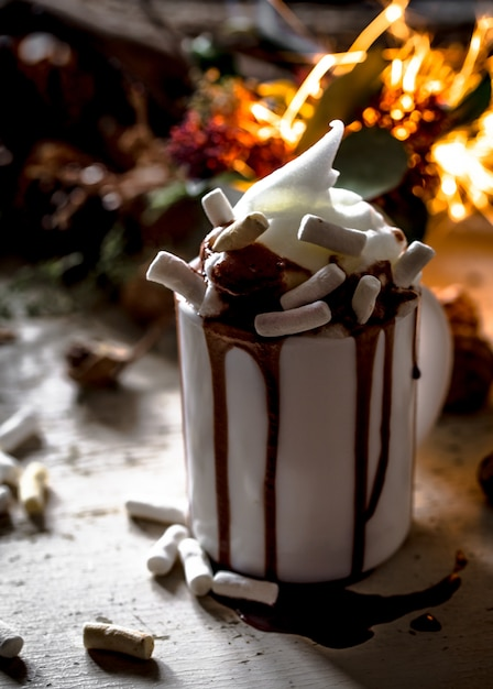 The concept of a festive cup  cocoa Free Photo